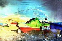 Urlaub, Boot, Strand, Digitale kunst