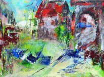 Stille, Acrylmalerei, Landleben, Sommer