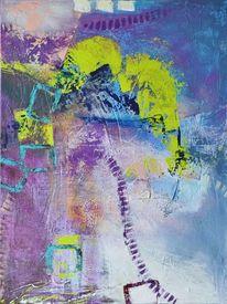 Übermalung, Muster, Violett, Acrylmalerei