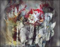 Abstrakt, Blumen, Blüte, Digital