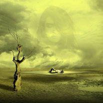 Mann, Landschaft, Fantasie, Engel