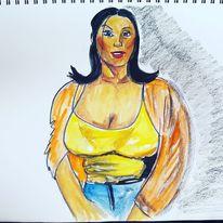 Menschen, Erotik, Farben, Skizze