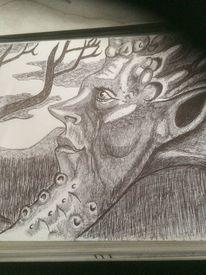 Kohlezeichnung, Skizze, Bleistiftzeichnung, Tiere