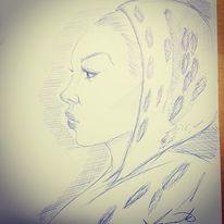 Kuli, Frau, Zeichnung, Zeichnungen
