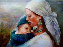 Ölmalerei, Malerei, Portrait, Mutterliebe