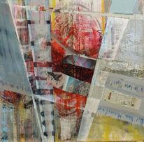 Abstrakt, Komposition, Mischtechnik, Malerei