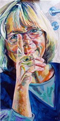 Frau, Selbstportrait, Malerei
