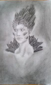 Bleistiftzeichnung, Fantasie, Kristall, Zeichnungen