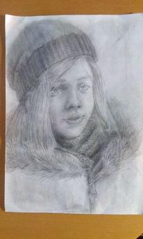 Winter, Bleistiftzeichnung, Mädchen, Zeichnungen