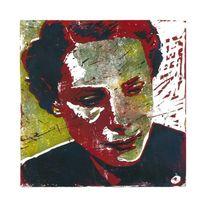 Grafik, Linol, Druck, Portrait