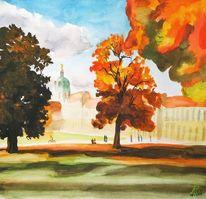 Herbst, Schloss charlottenburg, Schatten, Aquarell