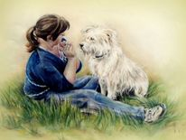 Hundeportrait, Pastellmalerei, Malerei, Freundschaft