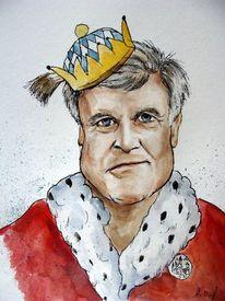 Personenkarikatur, Karikatur, Horst seehofer, Aquarell