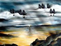Rabe, Krähe, Malerei, Wolken
