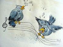 Vogel, Singvogel, Karikatur, Zeichnungen
