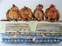 Huhn, Karikatur, Tierkarikatur, Zeichnungen