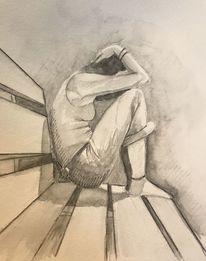 Trauer, Frau, Depression, Mischtechnik