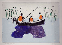 Familie, Wasser, Angler, Fischerboot