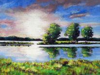 Landschaft, Wolken, Spiegelung, Bäume himmel
