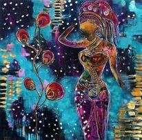 Blau, Mystik, Frau, Blumen