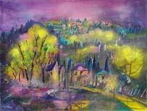 Landschaft, Acrylmalerei, Toskana, Mixed