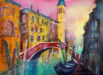 Venezia, Collage, Ixed media, Venedig
