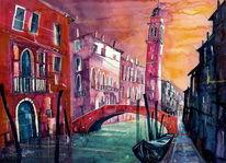 Venezia, Rio, Aquarellmalerei, Architektur