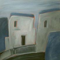 Blau, Haus, Schwarz weiß, Grau