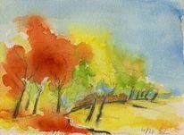 Aquarellmalerei, Landschaft, Baum, Himmel