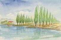 Aquarellmalerei, Landschaft, Baum, Aquarell