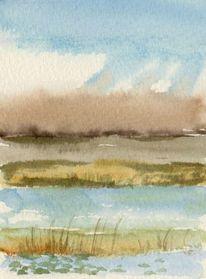 Aquarellmalerei, Landschaft, Moor, Aquarell