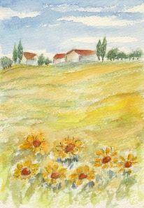 Aquarellmalerei, Landschaft, Sonnenblumen, Aquarell