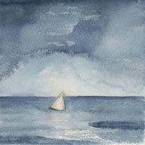 Segelboot, Wolken, Aquarellmalerei, Wasser