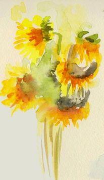 Aquarellmalerei, Sonnenblumen, Aquarell