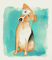 Aquarellmalerei, Tiere, Hund, Aquarell