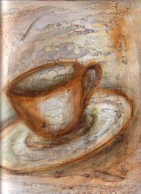 Weiß, Braun, Acrylmalerei, Tasse