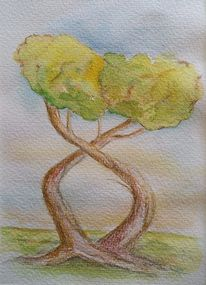 Aquarellmalerei, Baum, Zwillinge, Aquarell