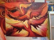Acrylmalerei, Malerei, Abstrakt, Vulkan