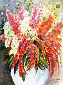 Blumenmalerei, Stillleben, Blumenstrau0, Aquarellmalerei