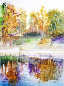 Aquarellmalerei, Baum, Landschaft, Spiegelung