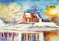 Natur, See, Winter, Baum
