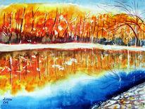 Natur, Herbst, Wald, Aquarellmalerei