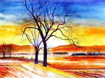 Natur, Berge, Herbst, Aquarellmalerei