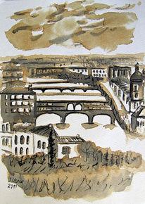 Brücke, Landschaft, Zeichnung, Florenz