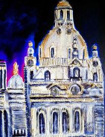 Dresden, Frauenkirche, Acrylmalerei, Collage