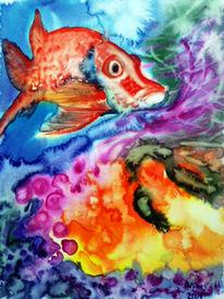 Meer, Aquarellmalerei, Stillleben, Fisch