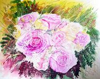 Stillleben, Blumenmalerei, Aquarellmalerei, Blumenstrauß
