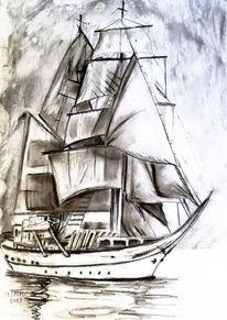 Meer, Zeichnung, Kohlezeichnung, Segelschiff