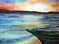 Boot, Landschaft, Aquarellmalerei, Natur