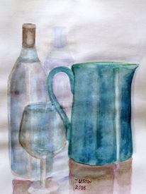 Krug, Flasche, Weihnglas, Aquarellmalerei